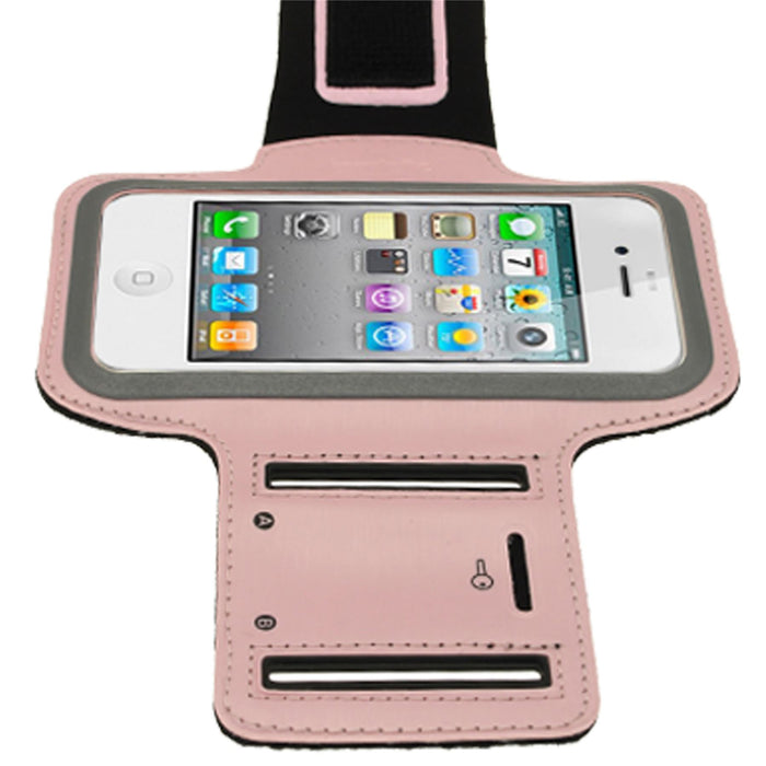 iGadgitz Pink Reflective Anti-Slip Neoprene Sports Gym Jogging Armband for Apple iPhone SE, 5S, 5, 5C