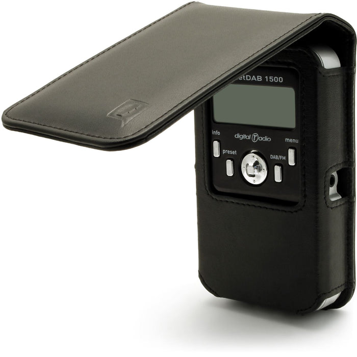 iGadgitz Black Leather Case Cover for Pure Pocket DAB 1500 Radio