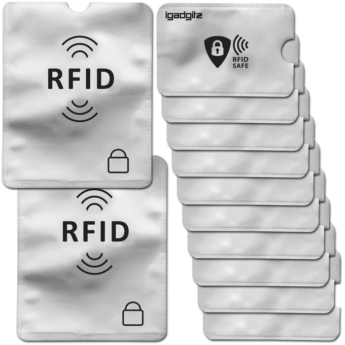 iGadgitz 12Pcs RFID Blocking Sleeves Secure Identity Theft Travel Card Protectors – (10 Credit Card 2 Passport Holders)