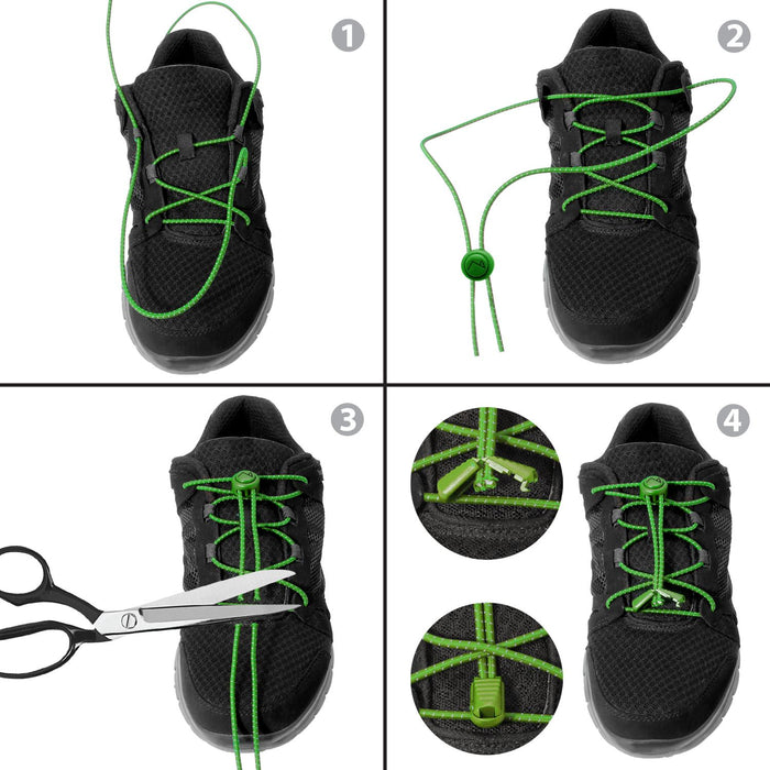 CampTeck Elastic Shoelaces with Locking System ideal for Kids Elderly Runners Sports, Trainer Shoes Marathon (1 Pair)