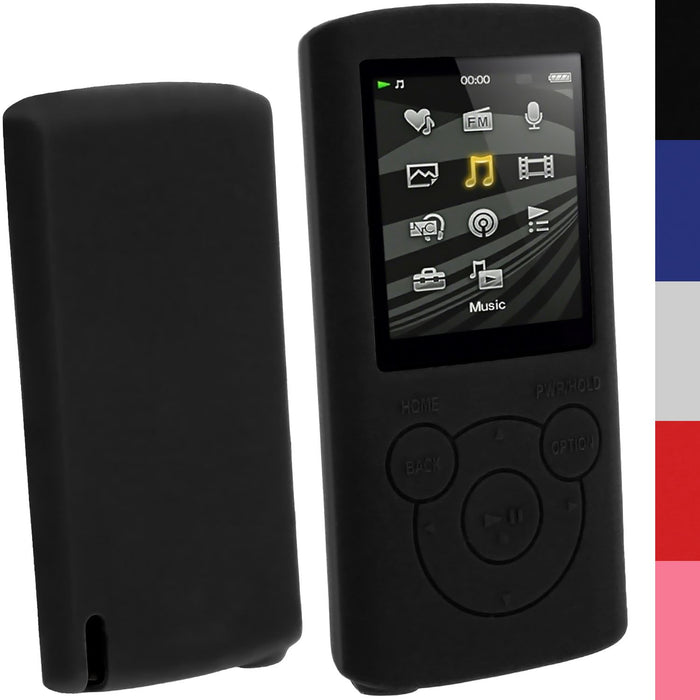 iGadgitz Silicone Skin Case Cover for Sony Walkman NWZ-E384 4GB 8GB + Screen Protector (various colours)