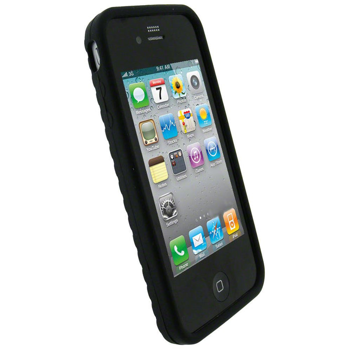 iGadgitz Black Tyre Tread Silicone Skin for Apple iPhone 4 16GB & 32GB + Screen Protector. Not suitable for iPhone 4S
