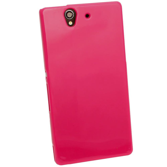 iGadgitz Pink Glossy Gel Case for Sony Xperia Z + Screen Protector