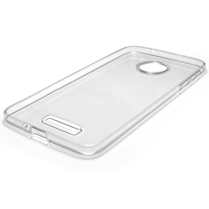 iGadgitz Transparent Clear Glossy TPU Gel Skin Case Cover for Motorola Moto Z 2016 Z Droid + Screen Protector