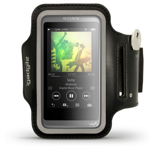 iGadgitz Reflective Black Sports Jogging Gym Armband for Sony Walkman NW-A35 NW-A40 NW-A45 MP3 Player with Key Slot