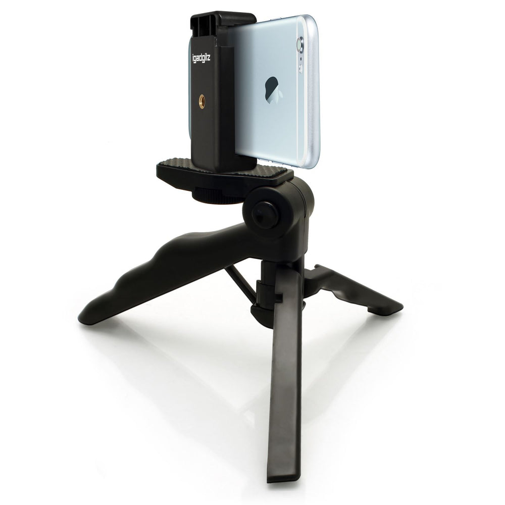 iGadgitz 2 in 1 Pistol Grip Stabilizer and Mini Table Top Stand Tripod + Universal Smartphone Holder Mount Bracket