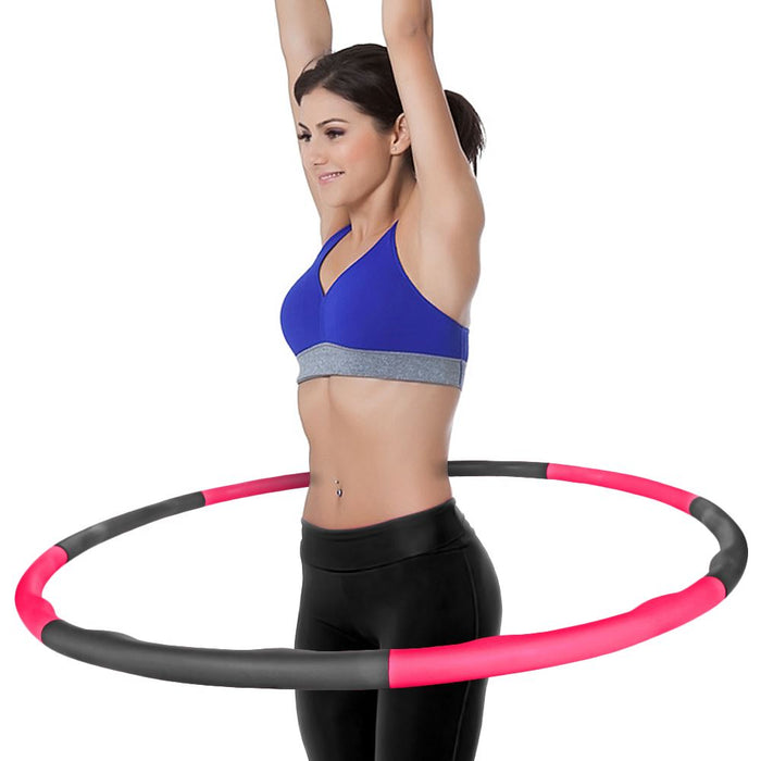 CampTeck U6845 8 Sections Weighted Hula Hoop 1.5kg Foam Padded Fitness Exercise Hula Hoop, 100cm Diameter - Pink / Grey