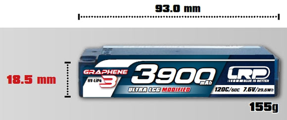 HV LCG MODIFIED SHORTY GRAPHENE-3 - 3900mAh - 7.6V LiPo - 120C/60C