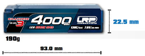 HV STOCK SPEC SHORTY GRAPHENE-3 - 4000mAh - 7.6V LiPo - 130C/65C