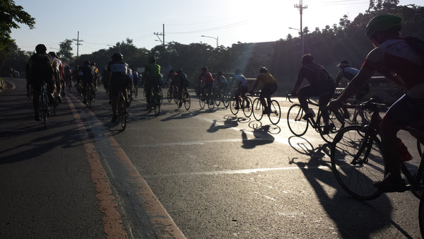 Road cyclists at Quezon City Memorial Circle