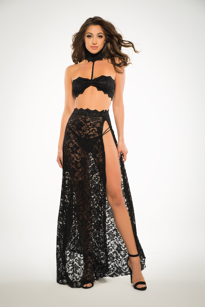 see through me, lace bandeau top & skirt