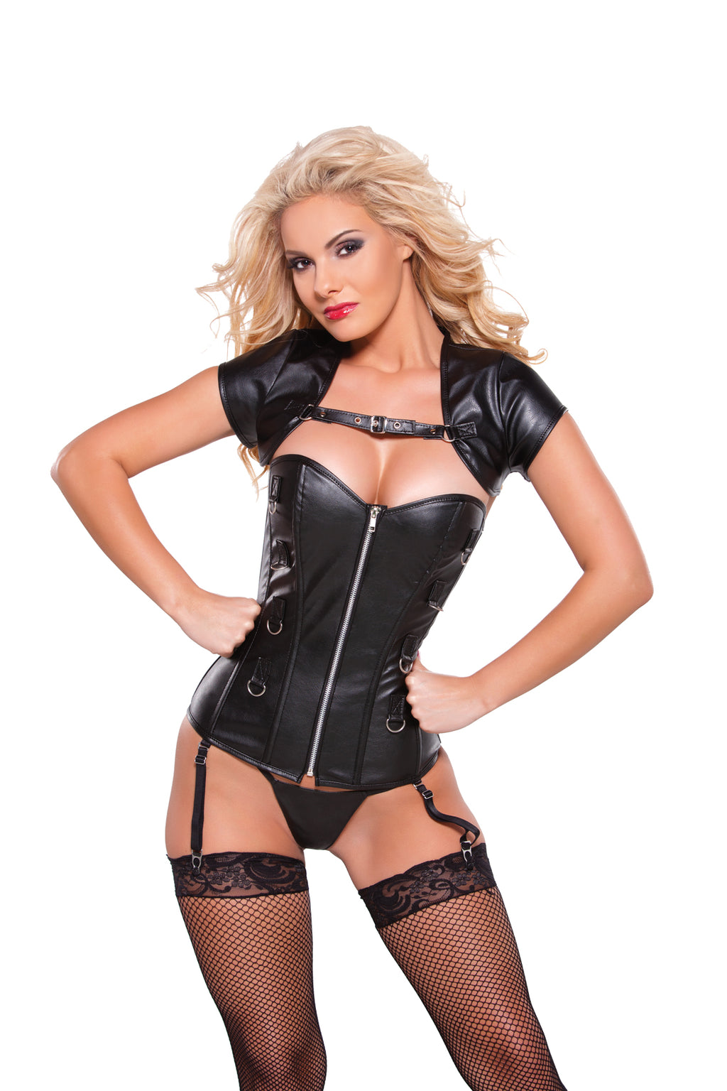 Faux Leather Corset with Bolero Top