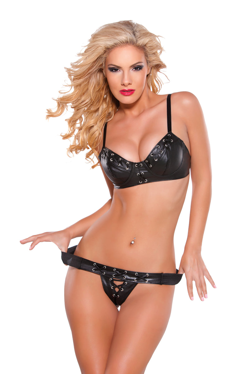 Faux Leather Bra & G-String Set