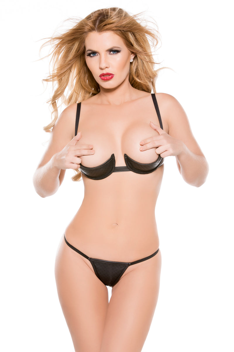 Faux Leather 1/4 Bra & G-String Set