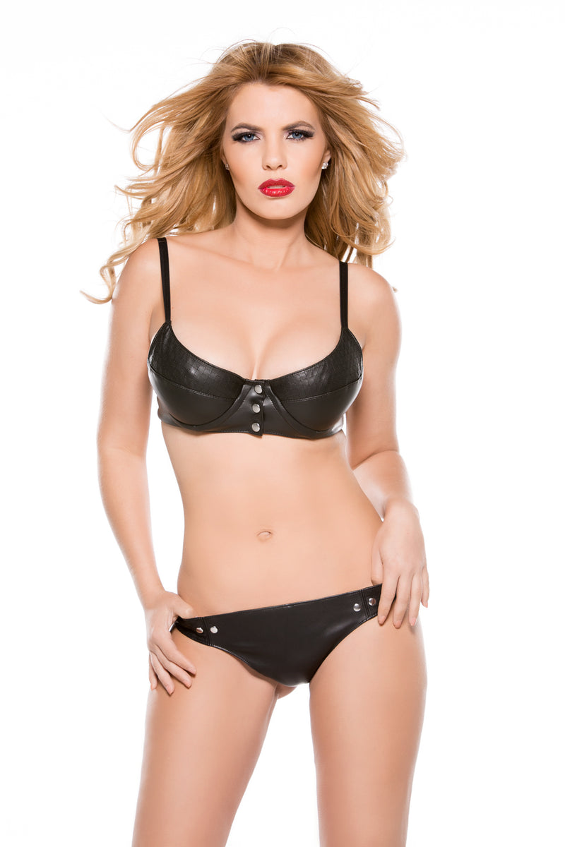 Faux Leather Snap Front Bra & Thong Set