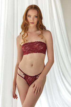 Emmanuelle Lace Bandeau & Thong Two Piece Set