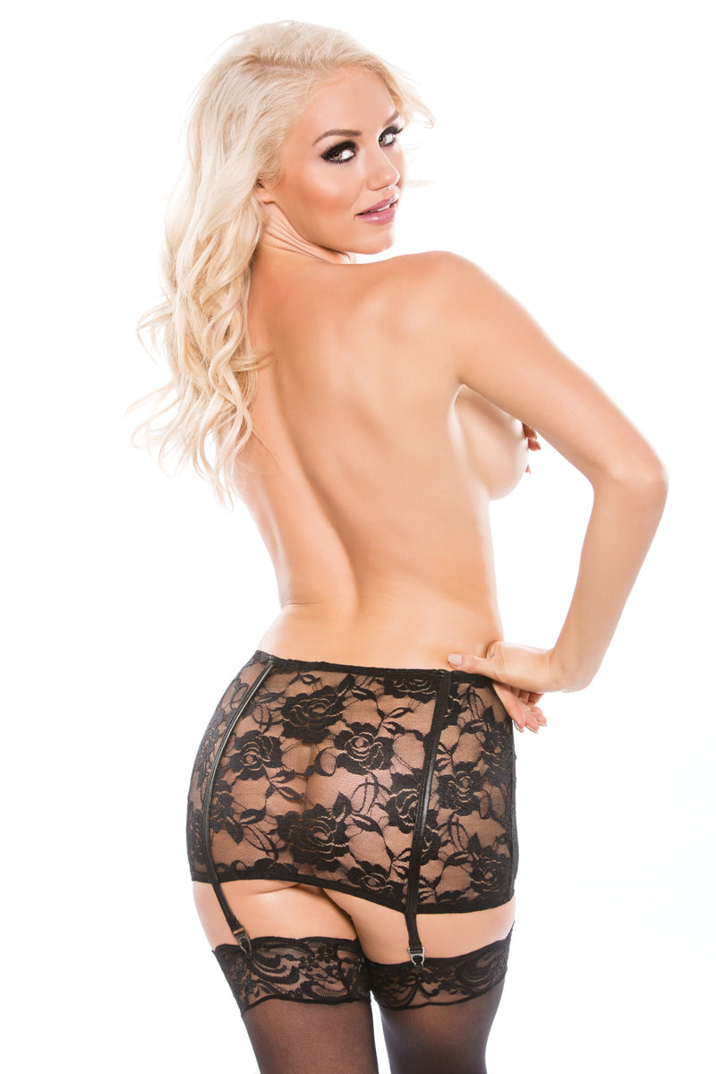 Lace & Wet Look Garter Skirt