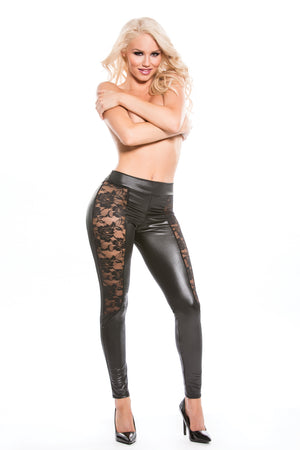 Lace & Wet Look Leggings