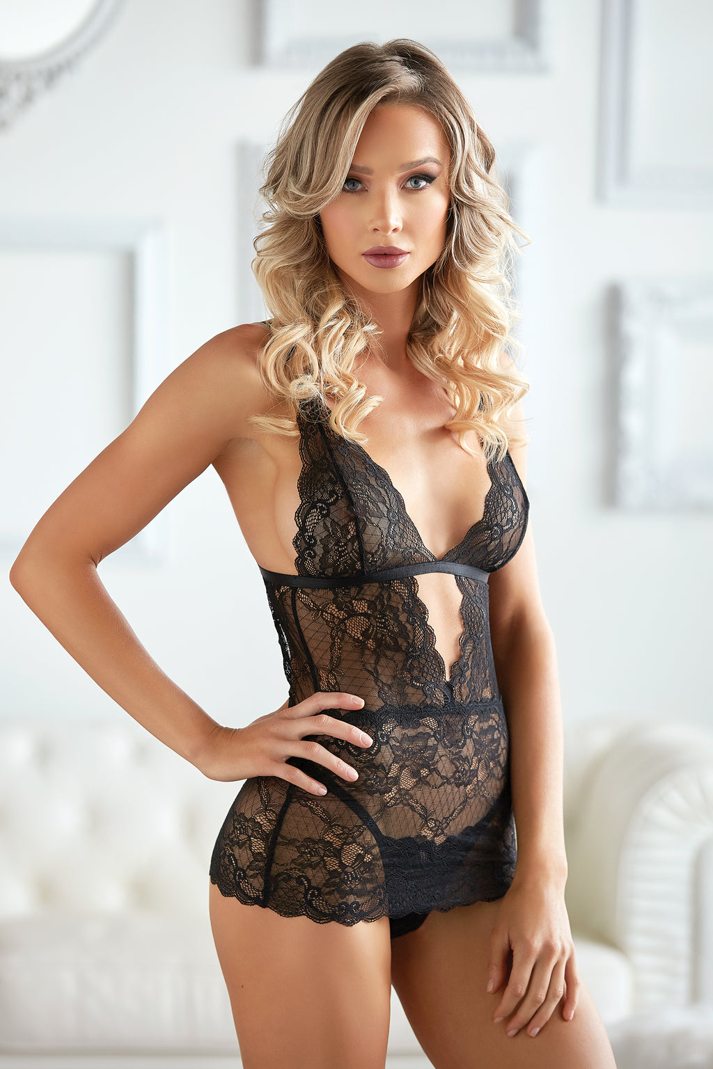 Dahlia Lace Chemise with G-string
