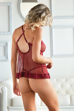 Isla Mesh Babydoll with G-string