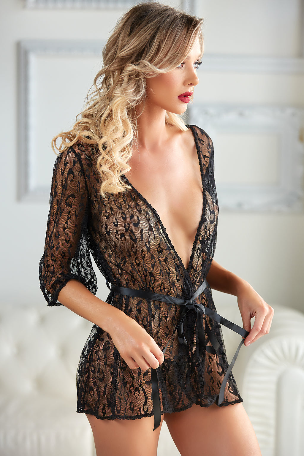 Valentina Leopard Lace Robe with G-string (also in plus size)