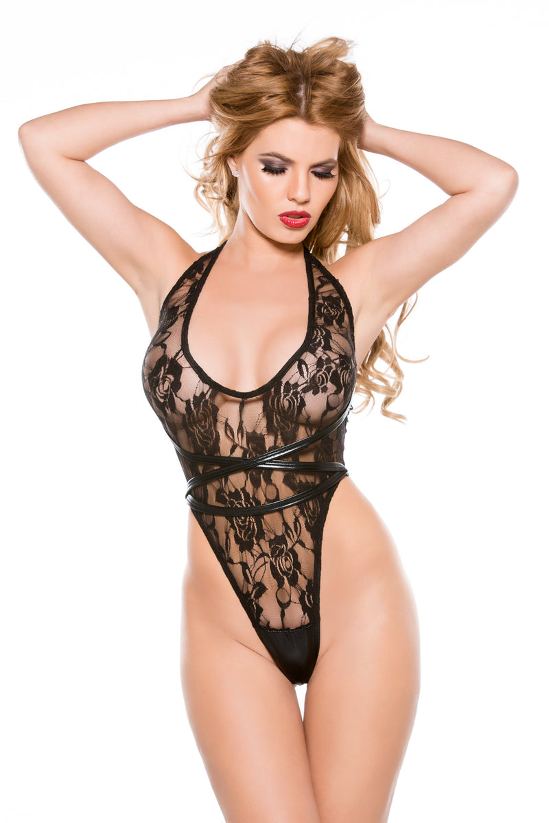 Lace & Wet Look Halter Teddy