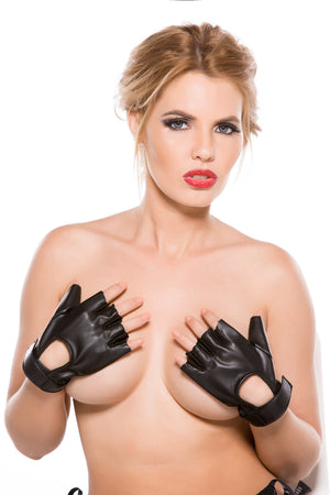 Faux Leather Fingerless Short Gloves
