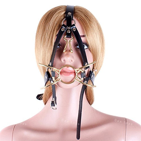FST Metal Spider Ring Gag with Head Slave Harness Nose Hook Flirting Mouth Gags Sex Toys for Couple Adult Games Unisex Sex Products (Silver)