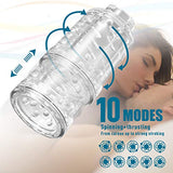 Male Masturbator-10 Rotating,Trusting Models,3 Moans Interaction 3 in 1 Adjustable Hands-Free Automatic Men Masturbation Cup Stroker Toys with Visible 3D Textured Sleeve