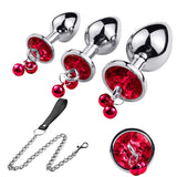 3Pcs Anal Plug Stainless Steel Booty Beads Jewelled Anal Butt Plug Sex Toys Products for Men Couples (Red2)