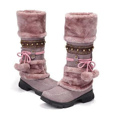 Load image into Gallery viewer, Women's Lace Wool Winter Warm Flat Knee High Boots Women's Ski Shoes