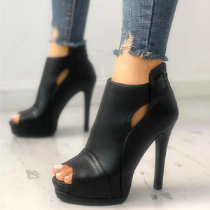 Fashion Peep Toe Cutout Thin Heels
