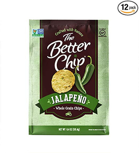 The Better Chip Whole Grain Chips, Jalapeno, 6.4 Ounce