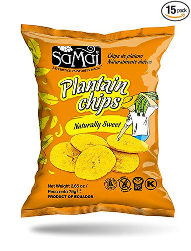 Samai Plantain Chips, Naturally Sweet, 2.65 Ounce (Pack of 15)
