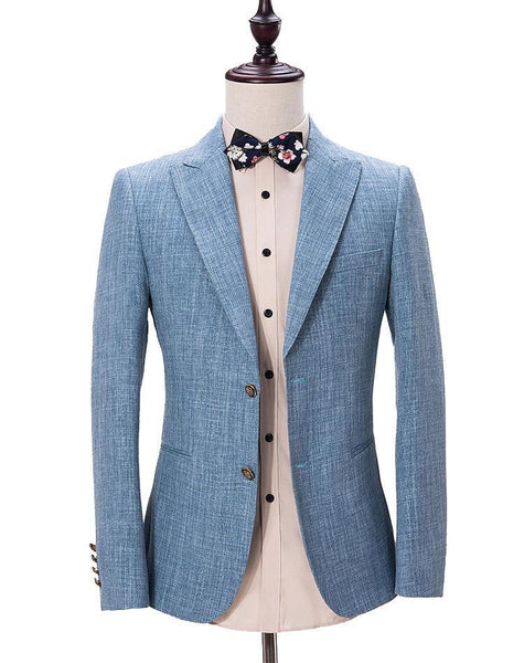 Light Blue Linen 3 Piece Suit