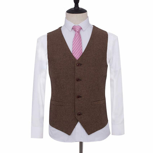 Light Brown Herringbone Tweed Waist Coat
