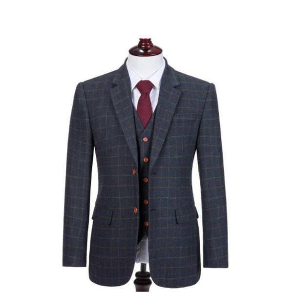Kids Grey Blue With Brown Tweed Suit