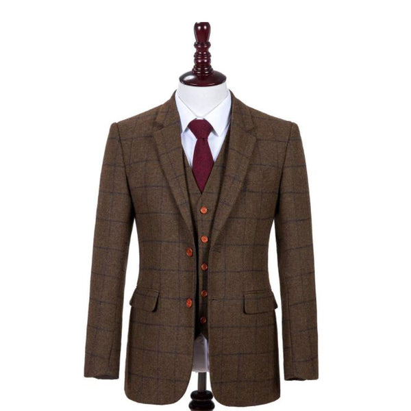 Brown Tweed With Blue Windowpane Jacket