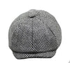 White and Grey Tweed Herringbone Flat Cap