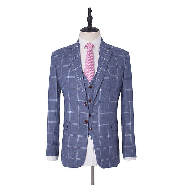 Navy Tweed Windowpane Check