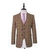 Light Brown White Windowpane Tweed Jacket