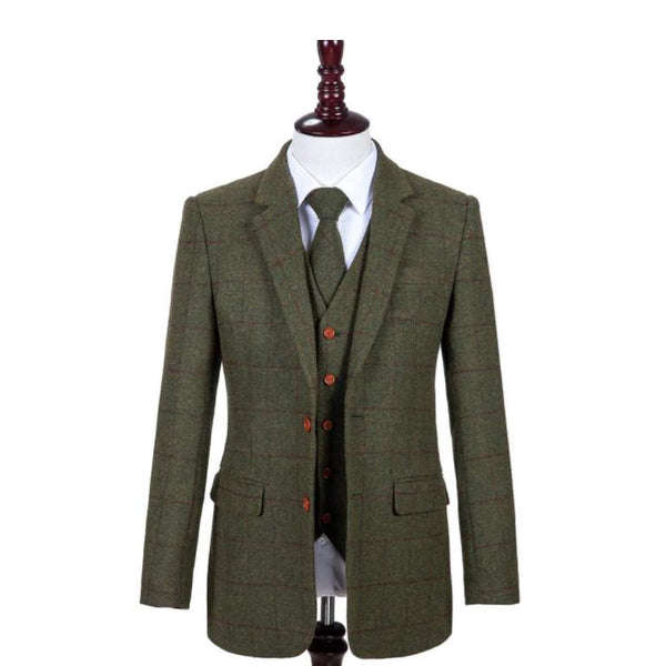 Kids Green Red Windowpane Tweed