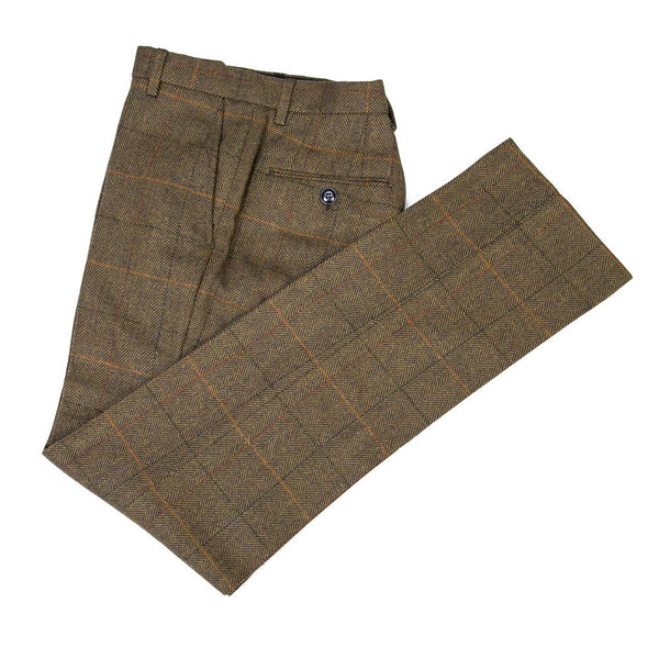 Brown Herringbone With Orange, Black & Red Windowpane Trouser