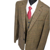 Brown Herringbone With Orange, Black & Red Windowpane 3 Piece Tweed Suit