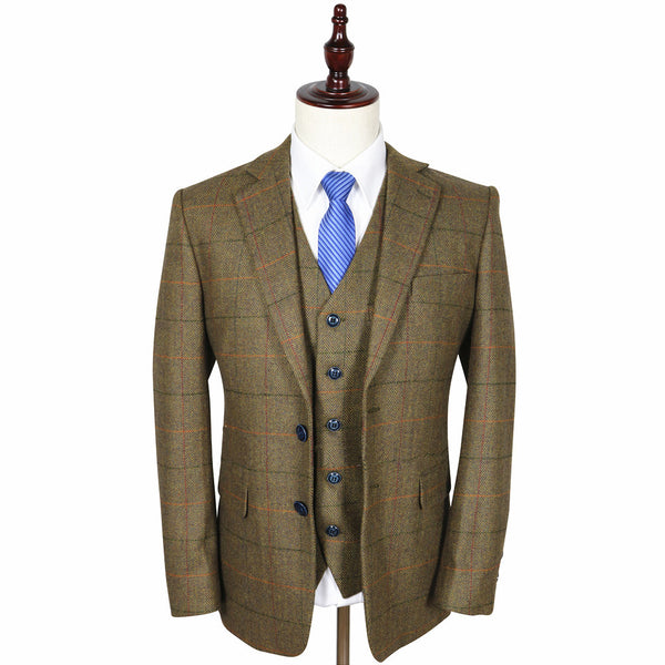 Kids Brown Herringbone With Orange, Black & Red Windowpane Tweed Suit