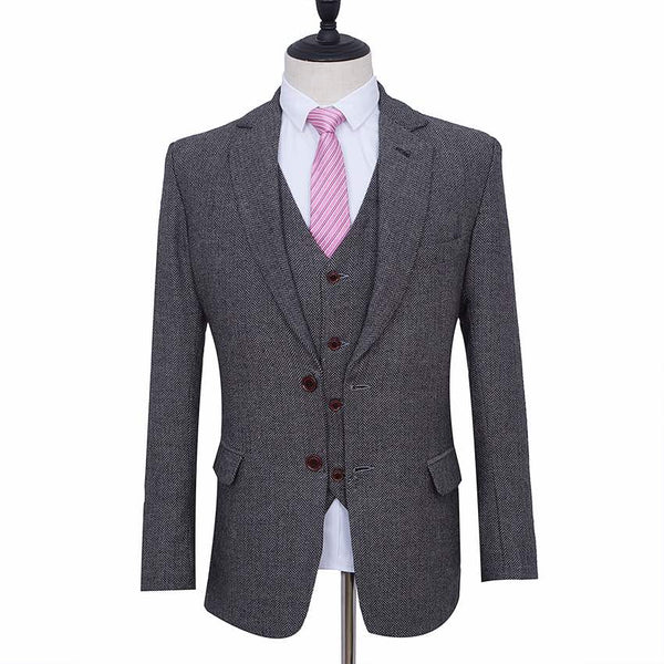 Light Grey Herringbone Tweed Jacket