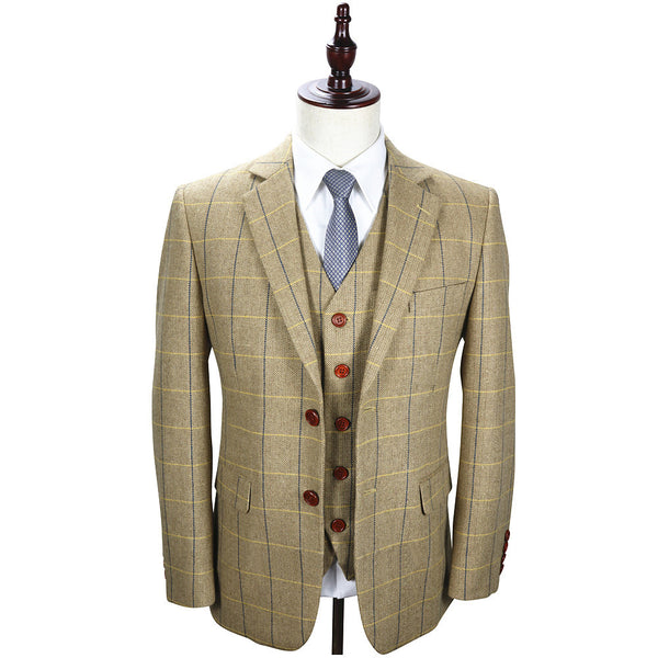 Cream White Tweed With Blue Windowpane 2 Piece Suit