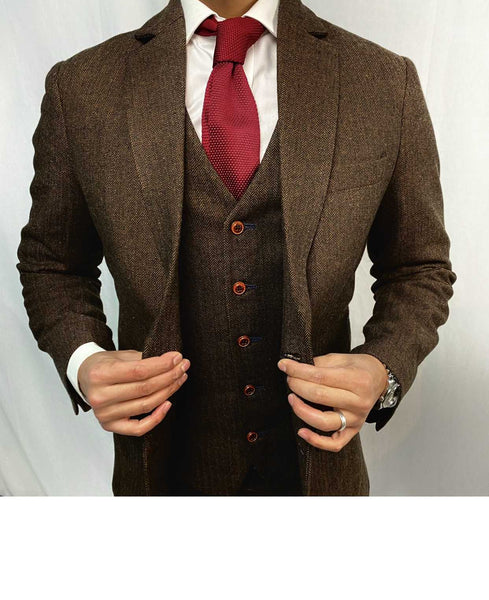 Brown Herringbone Waist Coat