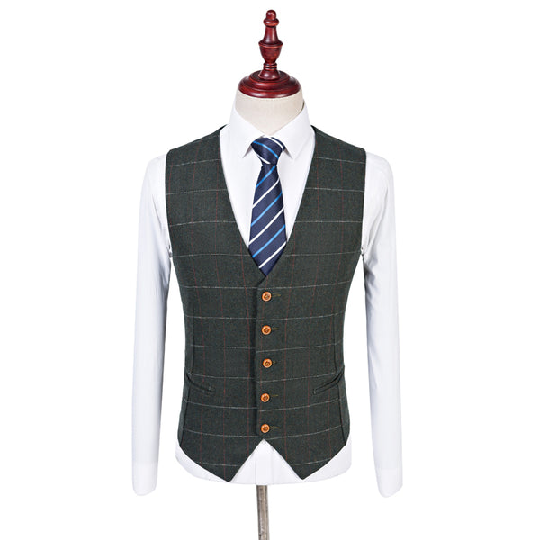 Dark Green Overcheck Twill Tweed Waist Coat