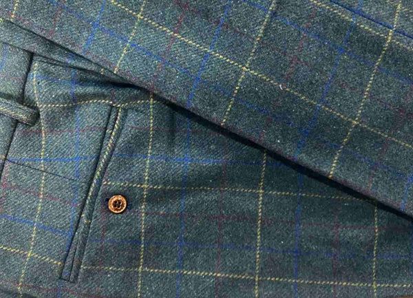 Peaky Green With Yellow & Red Windowpane Tweed trousers